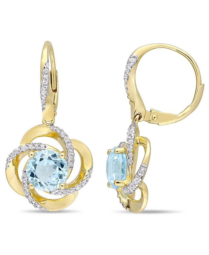 Macy's - Blue Topaz (4-3/4 ct. t.w.), White Topaz (1/2 ct. t.w.) Interlaced Floral Swirl Earrings in 18k Yellow Gold Over Sterling Silver