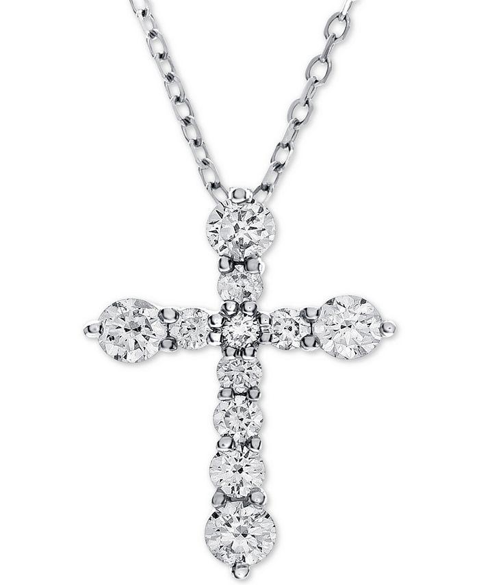 Macy's - Diamond Cross Adjustable Pendant Necklace (1 ct. t.w.) in 14k White Gold