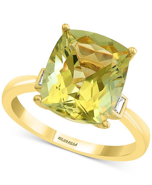 EFFY Collection EFFY® Lemon Quartz (4-5/8 ct. t.w.) & Diamond (1/10 ct. t.w.) Statement Ring in 14k Gold