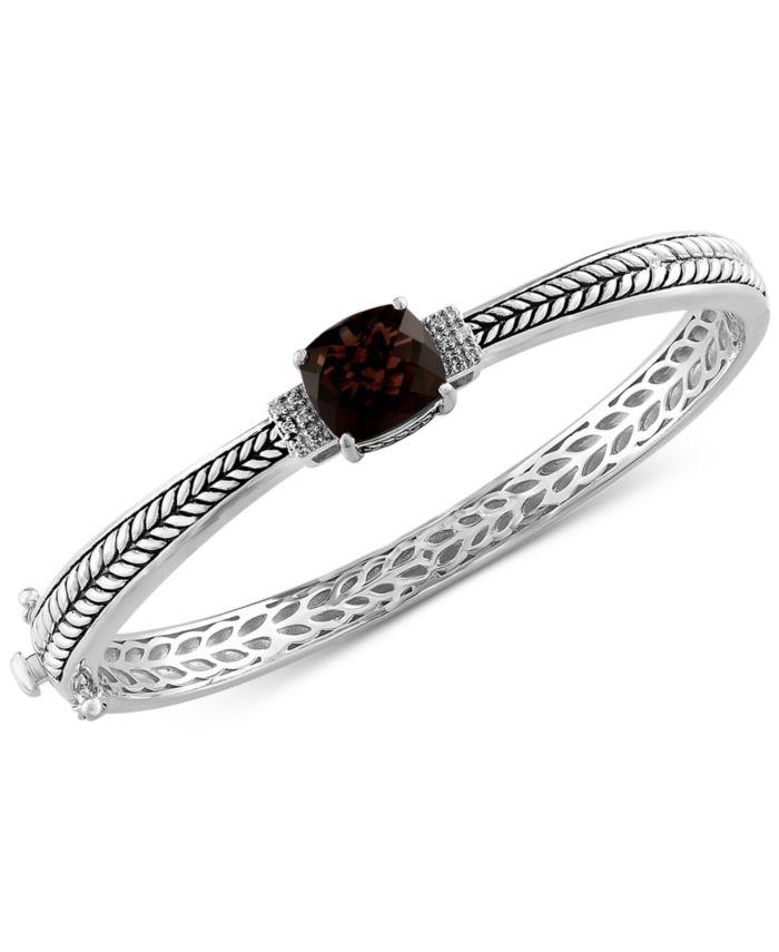 EFFY Collection EFFY® Smoky Quartz (3-9/10 ct. t.w.) & Diamond (1/20 ct. t.w.) Bangle Bracelet in Sterling Silver & Reviews - Bracelets - Jewelry & Watches - Macy's