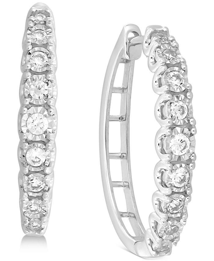 Macy's - Diamond Hoop Earrings (1/2 ct. t.w.) in 14k White Gold