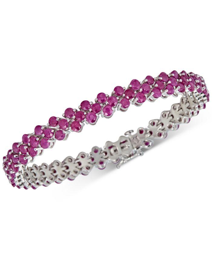 Macy's Certified Ruby Tennis Bracelet (13 ct. t.w.) in Sterling Silver & Reviews - Bracelets - Jewelry & Watches - Macy's