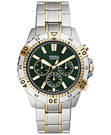 Fossil Men's Chronograph Garrett Two-Tone Stainless Steel Bracelet Watch 44mm