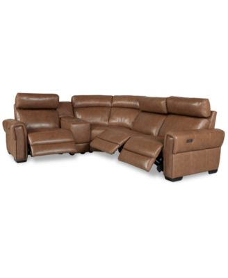 Josephia 5-Pc. Leather Sectional with 3 Power Recliners and Console, Created for Macy's