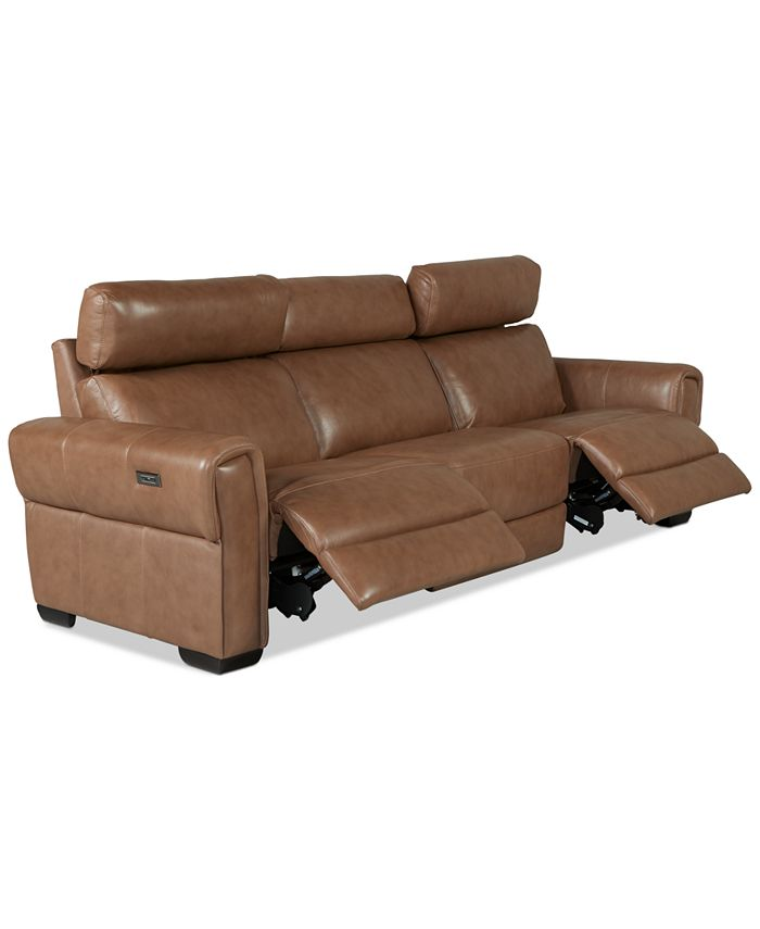 Furniture - Josephia 3-Pc. Leather Sectional with 2 Power Recliners