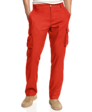 Sean John Pants Linen Cargo Marcus Slim Straight Leg Pants