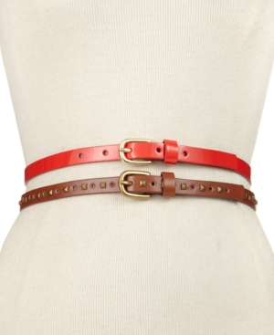 Steve Madden Belt 2 for 1 Stud and Patent Skinny