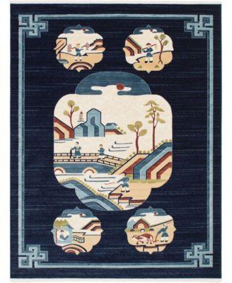 Sahil Sah3 Navy Blue 5' x 8' Area Rug