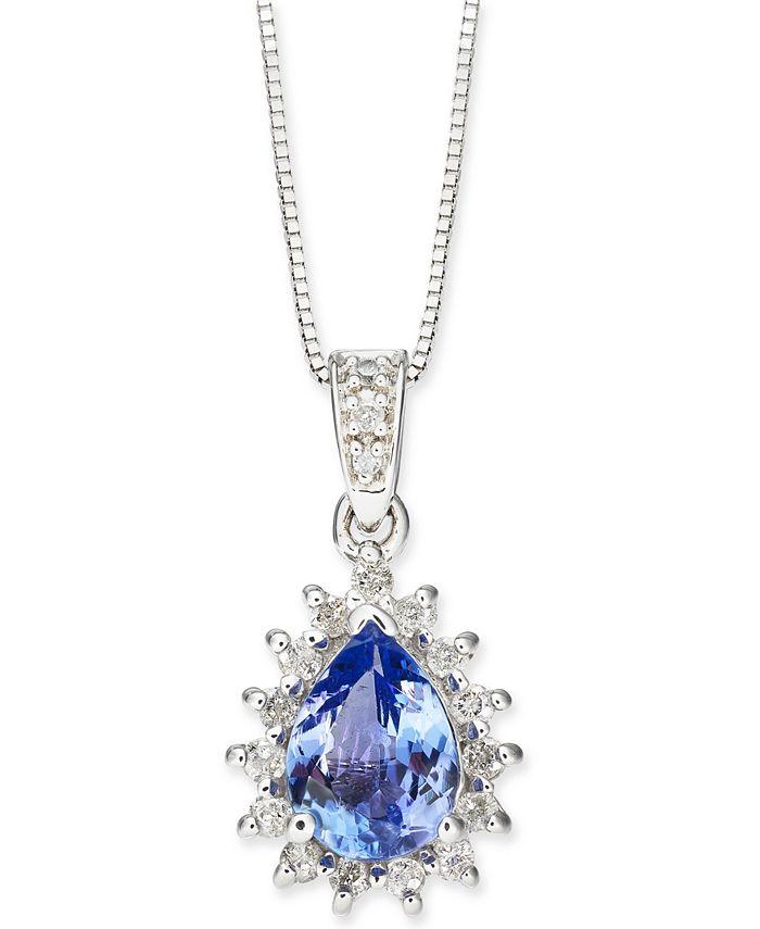 "Macy's - Tanzanite (1-1/10 ct. t.w.) & Diamond (1/4 ct. t.w.) Teardrop Halo 18"" Pendant Necklace in 14k White Gold"