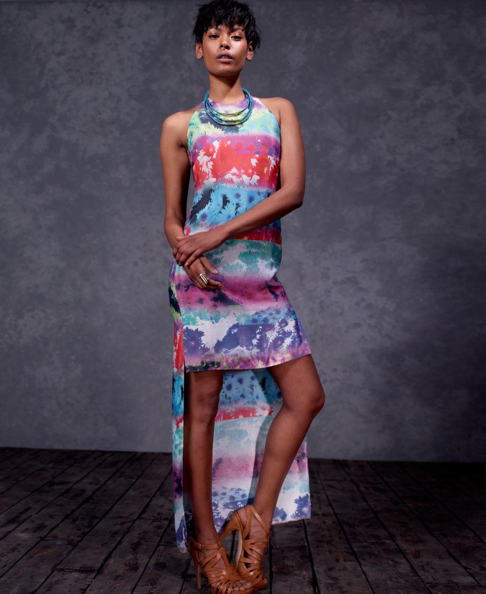 W118 by Walter Baker Dress, Lional Sleeveless High Neck Floral Print High Low Maxi   Dresses   Women