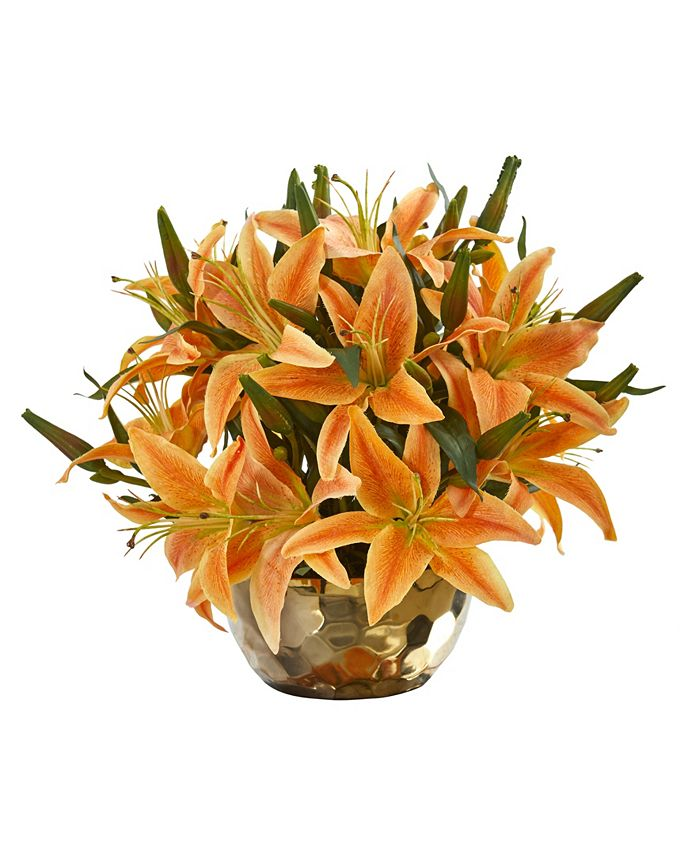 Nearly Natural - Lily Artificial Arrangement in Gold Vase