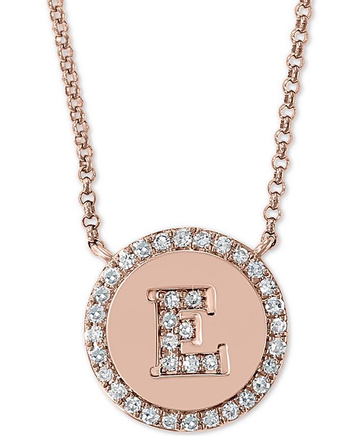 """EFFY Collection - Diamond Initial Pendant Necklace (1/6 ct. t.w.) in 14k Rose Gold, 16"""" + 2"""" extender"""