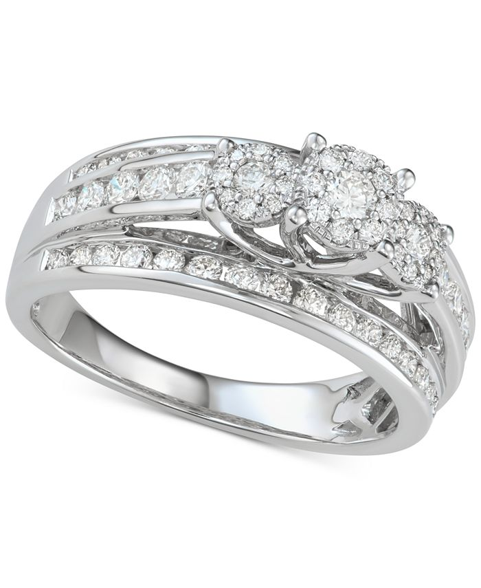 Macy's - Diamond Two-Row Tri-Cluster Engagement Ring (1 ct. t.w.) in 14k White Gold