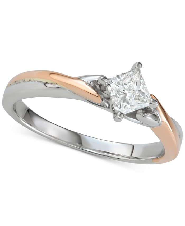Macy's - Diamond Princess Twist Engagement Ring (1/2 ct. t.w.) in 14k White & Rose Gold