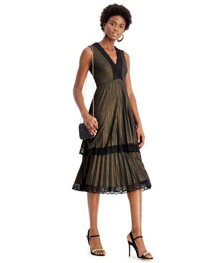 Taylor - Lace-Trim Metallic Tiered Dress