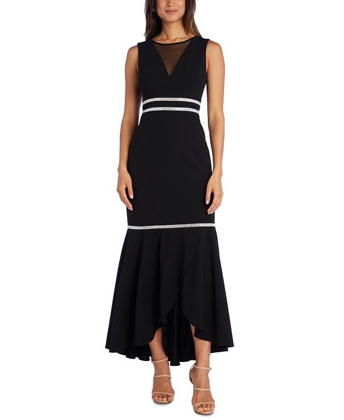 R & M Richards - Illusion-Neckline Gown