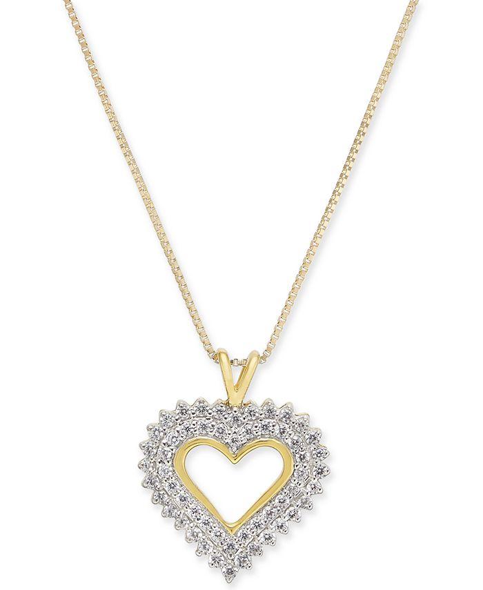 "Macy's - Diamond Heart 18"" Pendant Necklace (1/4 ct. t.w.) in 14k Gold"