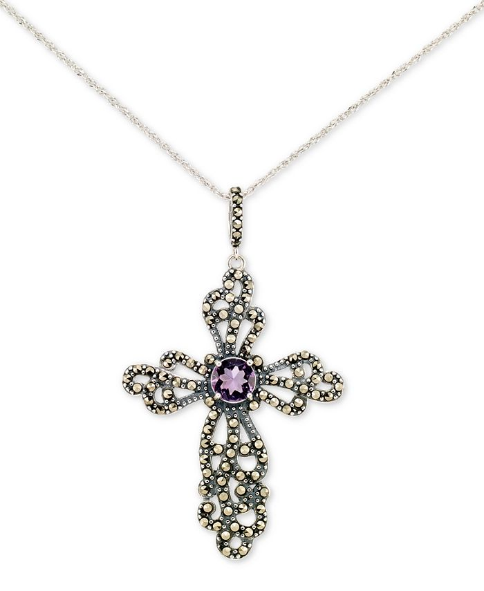 "Macy's - Amethyst (2 ct. t.w.) & Marcasite Cross 18"" Pendant Necklace in Sterling Silver"