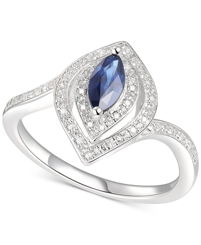Macy's - Sapphire (3/8 ct. t.w.) & Diamond (1/10 ct. t.w.) Statement Ring in Sterling Silver