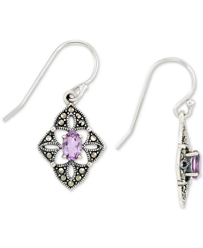 Macy's - Amethyst (1/2 ct. t.w.) &  Marcasite Flower Drop Earrings in Sterling Silver