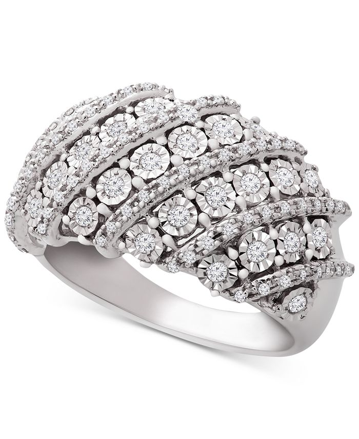 Macy's - Diamond Diagonal Cluster Statement Ring (1/2 ct. t.w.) in Sterling Silver