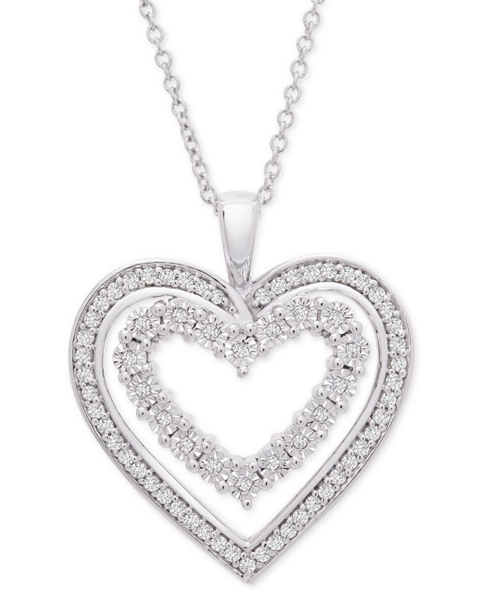 Macy's - Diamond Heart Adjustable Pendant Necklace (1/4 ct. t.w.) in Sterling Silver