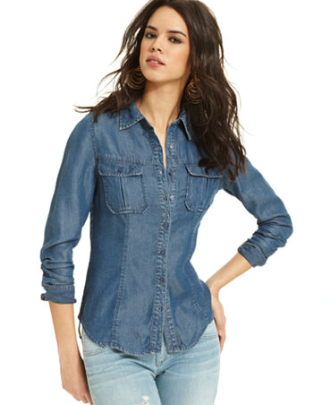 Guess Top Natalie Long Sleeve Denim Shirt Tops Women