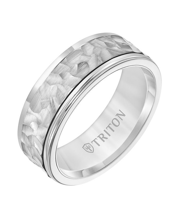 Triton - 8MM White Tungsten Carbide Ring with 14K White Gold Hammered Insert