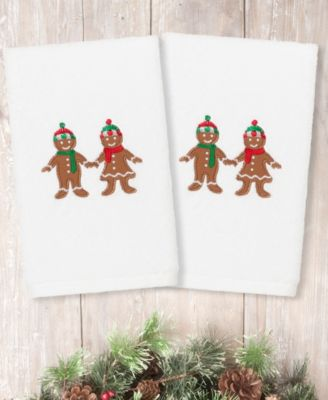 Christmas Gingerbread Embroidered 100% Turkish Cotton 2-Pc. Hand Towel Set