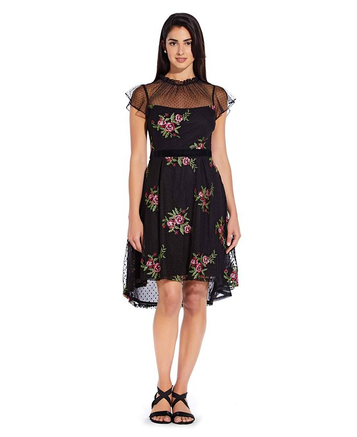 Adrianna Papell - Floral Embroidered Dress with High Low Skirt