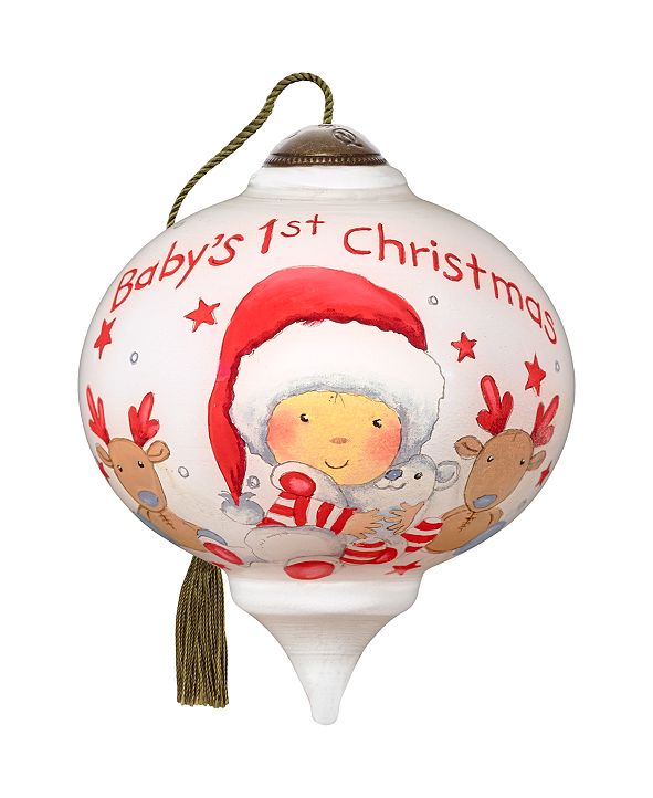 Ne'Qwa The NeQwa Art Christmas Cuddles hand-painted blown glass Christmas ornament