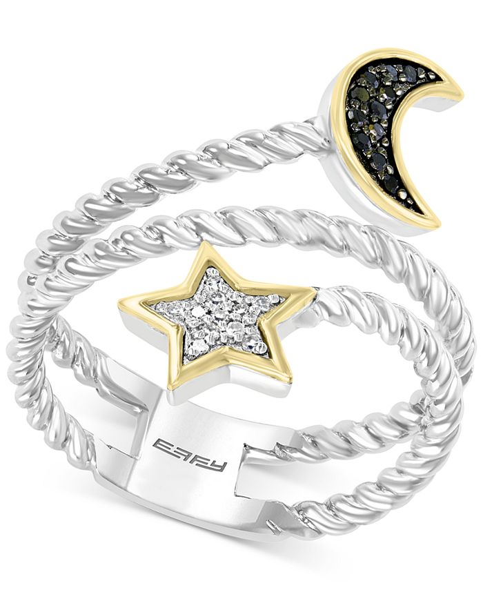 EFFY Collection - Diamond Star & Moon Coil Ring (1/6 ct. t.w.) in Sterling Silver & 14k Gold-Plate