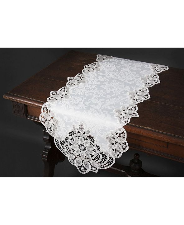 """Xia Home Fashions Antebella Lace Embroidered Cutwork Table Runner, 15"""" x 34"""""""