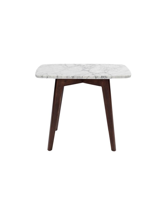 "Cenports - Cima 21"" Rectangular White Marble Table with Oak Legs"