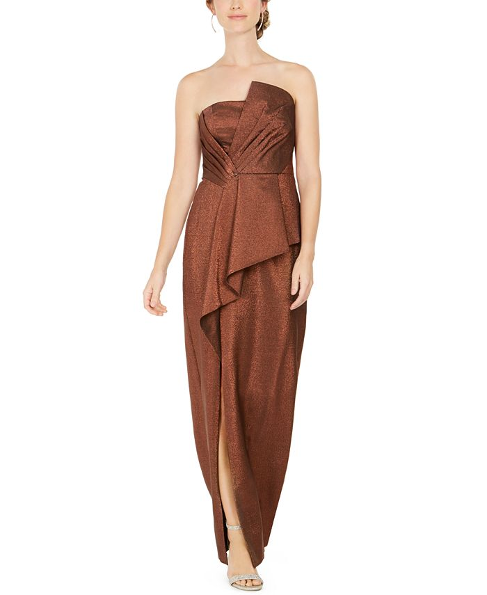 Adrianna Papell - Metallic Cascade-Front Gown