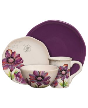 Gibson Dinnerware, Botanical Charm Purple 16 Piece Set