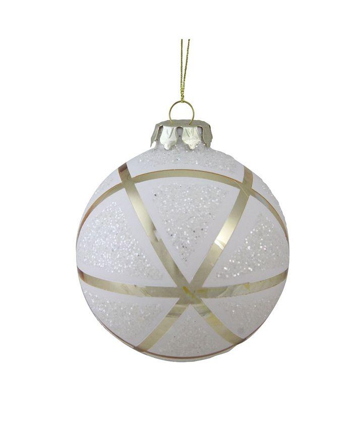 Northlight 4 100mm Gilded White Christmas Geometric Glass Christmas Ball Ornament Reviews Shop All Holiday Home Macy S