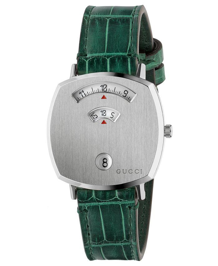 Gucci - Unisex Grip Green Alligator Leather Strap Watch 35mm