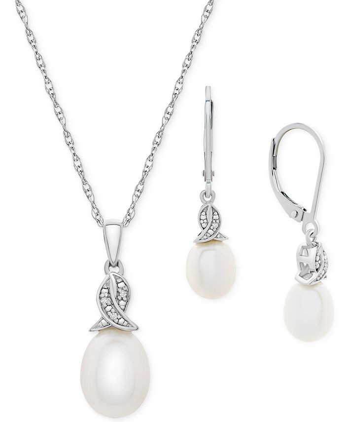 Macy's - 2-Pc. Set Cultured Freshwater Pearl (11 x 9mm & 9 x 7mm) & Diamond Accent Pendant Necklace & Matching Drop Earrings in Sterling Silver