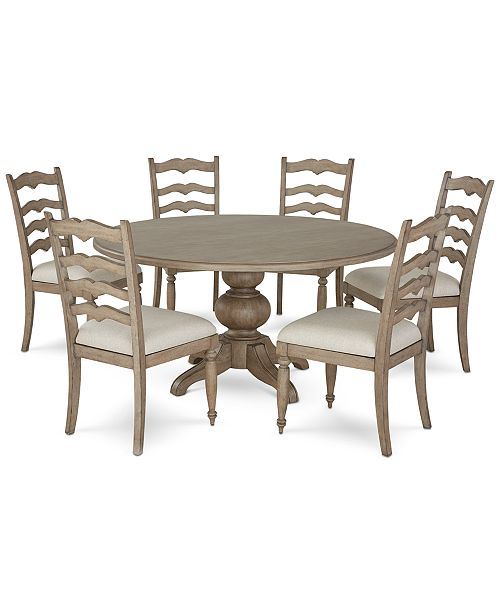 Furniture Ellan Round Dining Furniture 7 Pc Set Table 6 Side Chairs Created For Macy S Reviews Furniture Macy S