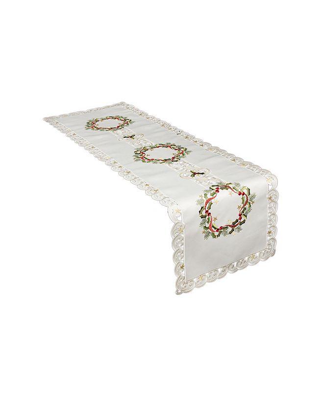 "Xia Home Fashions Ribbon Wreath Embroidered Cutwork Christmas Table Runner, 15"" x 70"""