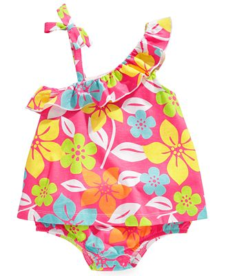 First Impressions Baby One-Piece, Baby Girls Asymmetrical-Shoulder Sunsuit