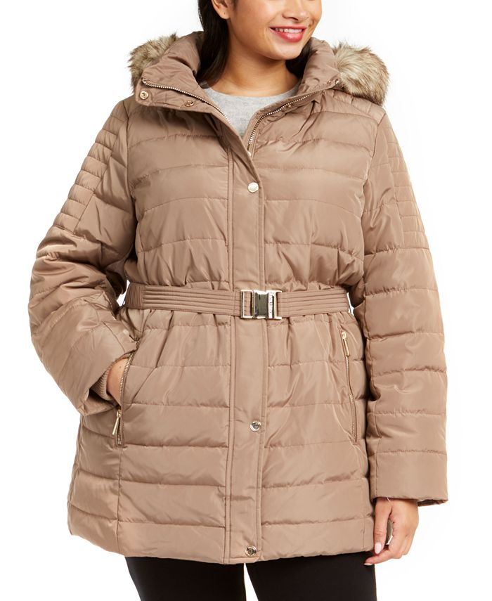 Michael Kors - Plus Size Hooded Belted Puffer Coat With Faux-Fur Trim