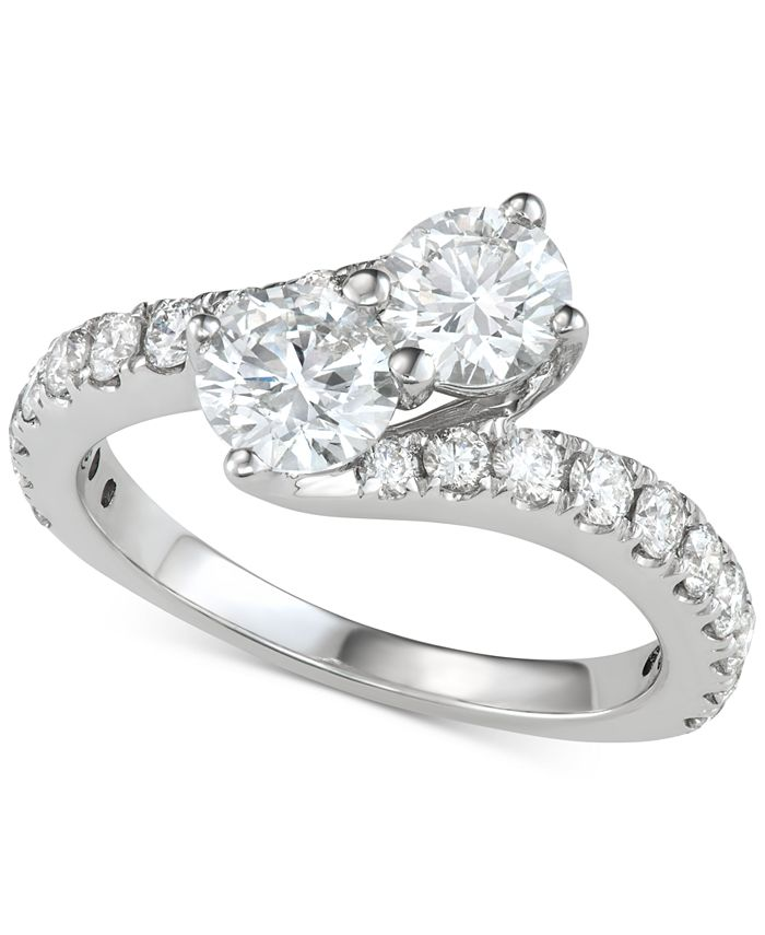 Macy's - Diamond Two-Stone Bypass Engagement Ring (2 ct. t.w.) in 14k White Gold