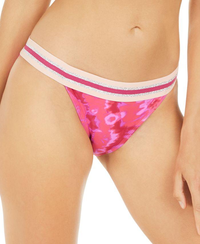 Hula Honey - Juniors' Hana Beach Tie-Dye Printed Banded Bikini Bottoms