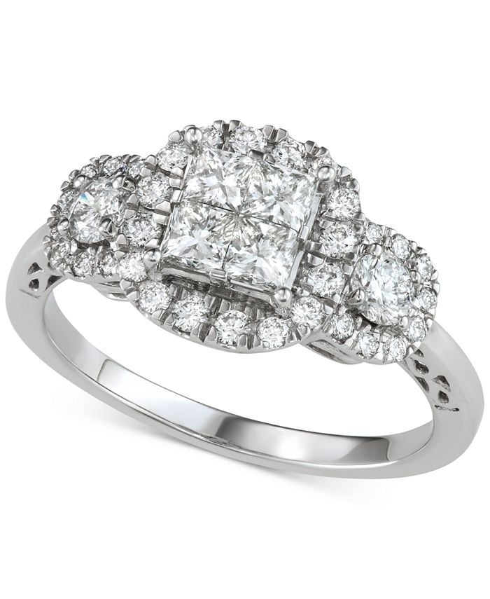 Macy's - Diamond Princess Halo Engagement Ring (1-1/5 ct. t.w.) in 14k White Gold
