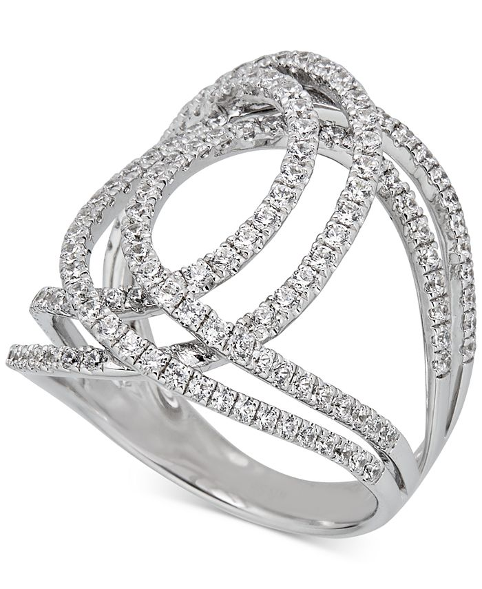 Macy's - Diamond Abstract Openwork Statement Ring (1-1/6 ct. t.w.) in 14k White Gold
