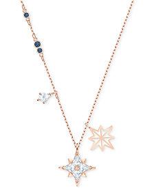 "Swarovski Rose Gold-Tone Crystal Star Pendant Necklace, 14-7/8"" + 2"" extender"