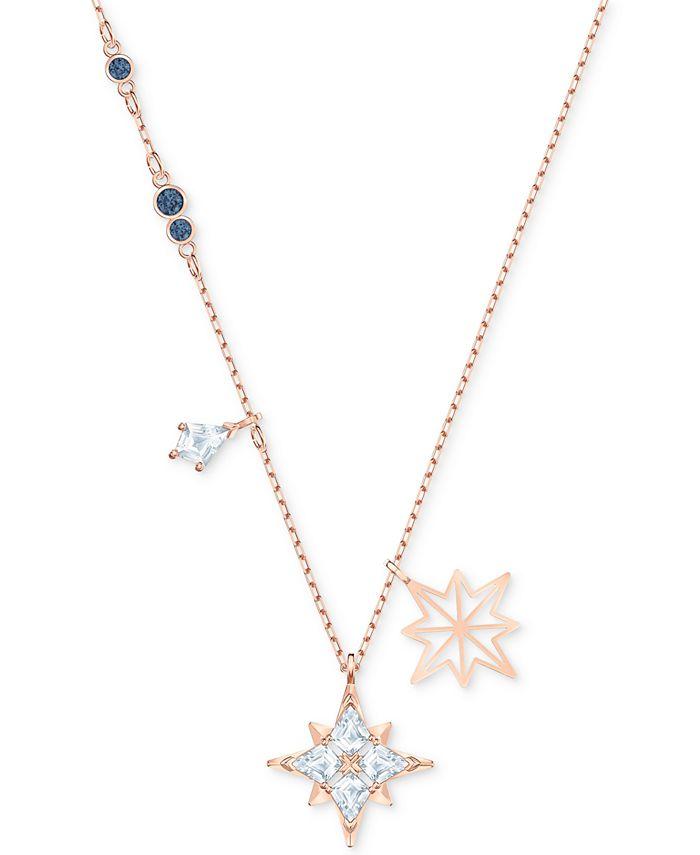 "Swarovski - Rose Gold-Tone Crystal Star Pendant Necklace, 14-7/8"" + 2"" extender"