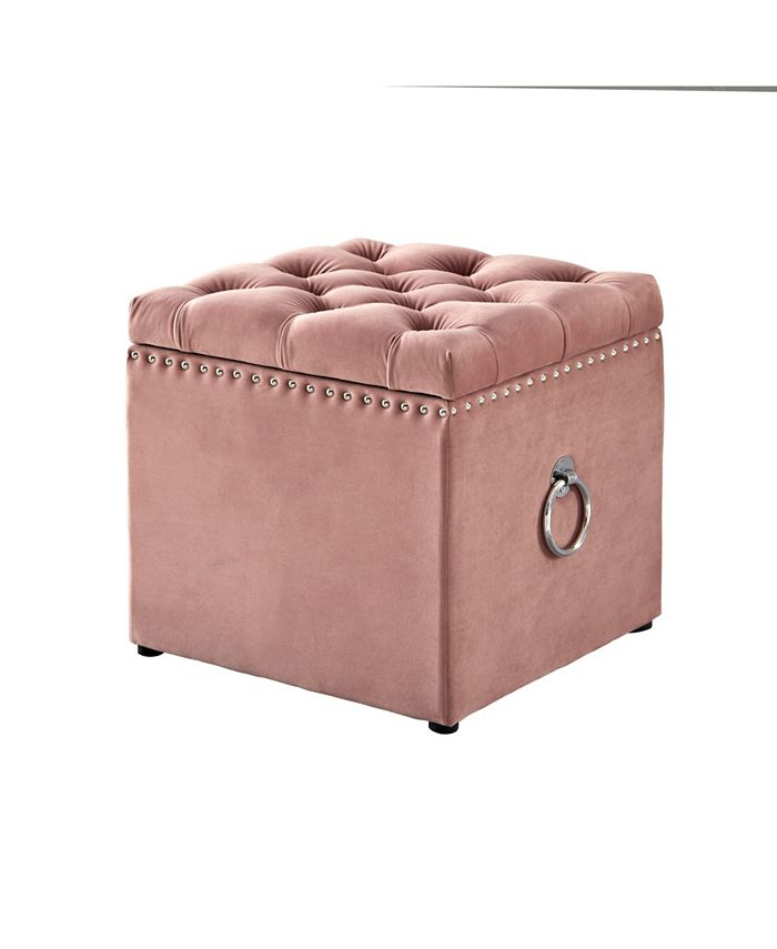 Inspired Home Ella Upholstered Storage Cube Ottoman With Nailhead Trim Reviews Furniture Macy S